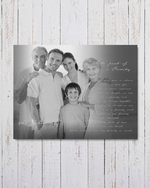 Black and White Personalized Family Photo Canvas by Transit Design