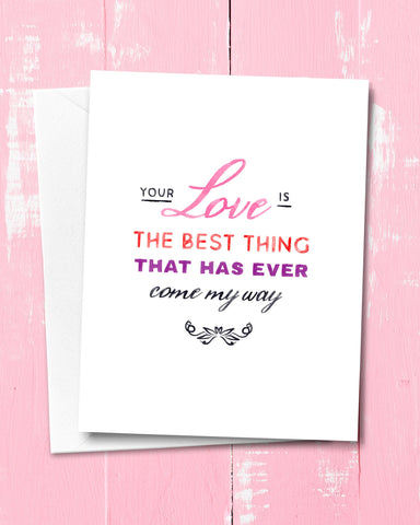 Script Valentines Card by Smirkantile. Love Card.