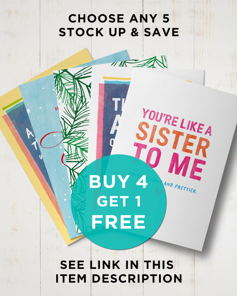 Buy 4 Get 1 Free, Choose Any 5 Funny Greeting Cards by Smirkantile.