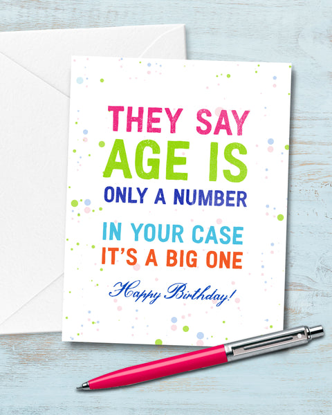 Funny Birthday Card, Age is Only a Number Card by Smirkantile.
