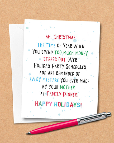 Humorous Christmas Cards, Funny Holiday Card by Smirkantile.