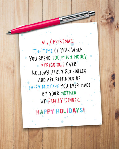 Funny Holiday Card, Snarky Christmas Cards by Smirkantile