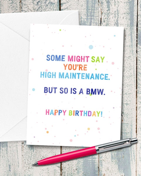 Funny Birthday Card for High Maintenance Girlfriend by Smirkantile