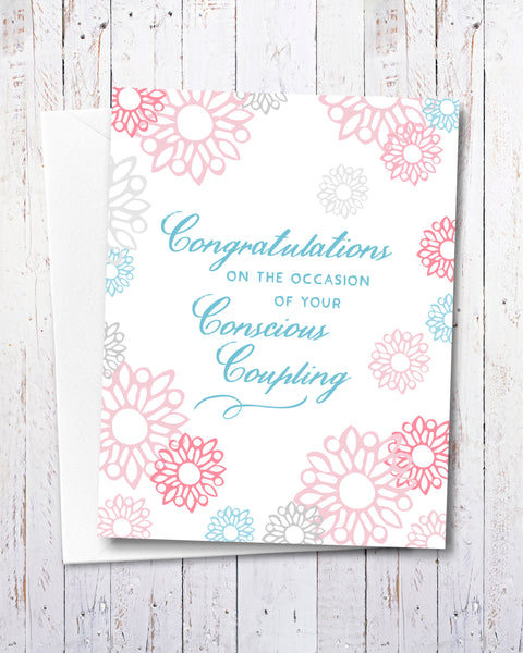 Funny Wedding Card, Conscious Coupling by Smirkantile