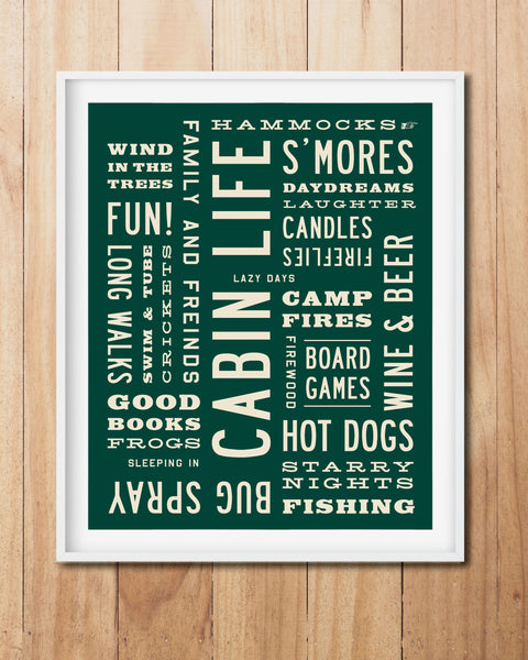 Cabin Life Word Art Print, Rustic Wall Art Poster by Transit Design
