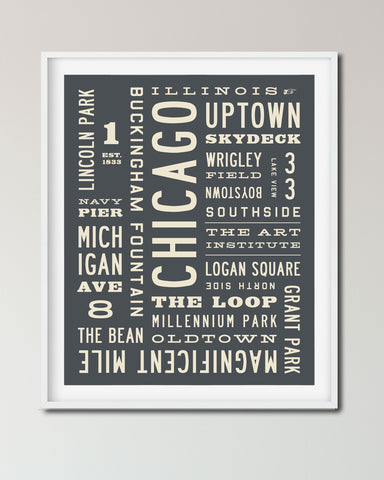 Chicago Word Art Print, Chicago Poster, Wall Art by Transit Design.
