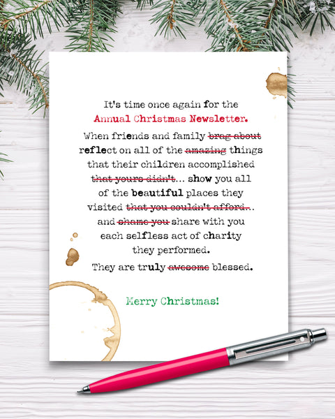 Funny Christmas Newsletter Card, Holiday Cards by Smirkantile
