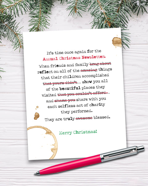 Funny Christmas Newsletter Card, Holiday Card by Smirkantile.