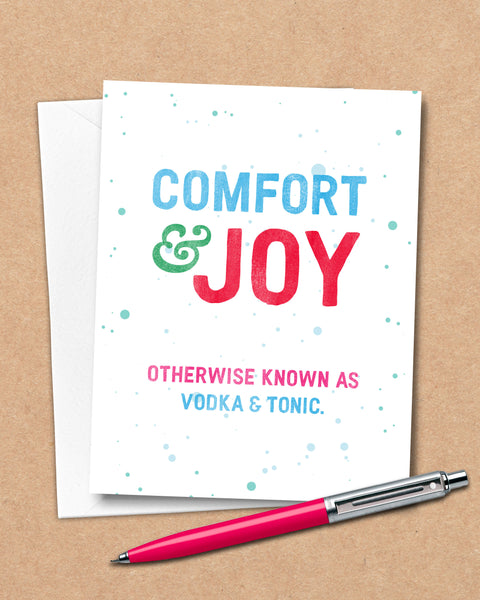 Humorous Christmas Cards by Smirkantile, Comfort and Joy Holiday Card