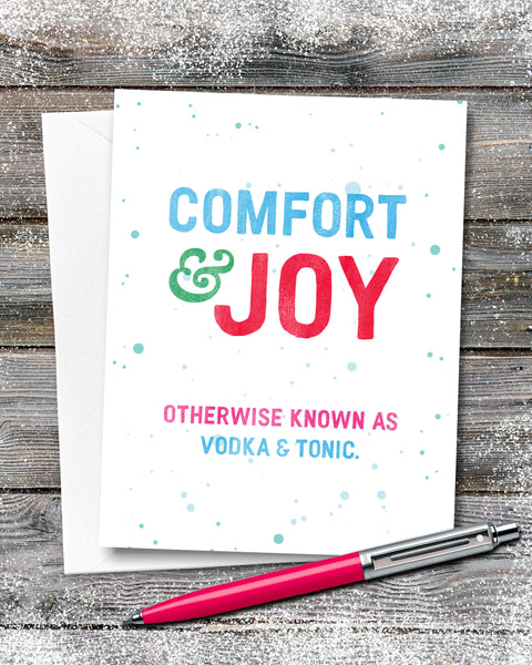 Funny Christmas Cards, Comfort and Joy Christmas Card by Smirkantile