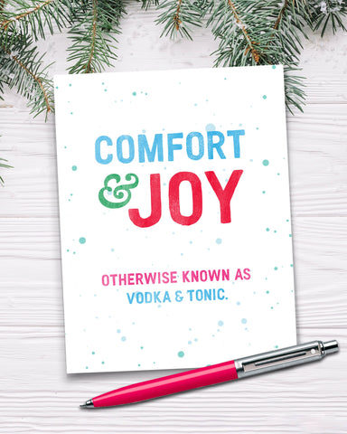 Comfort & Joy. Otherwise known as Vodka & Tonic. Funny Christmas Card.