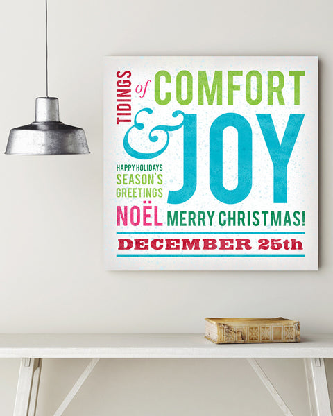 Comfort and Joy Sign. Christmas Subway Art.