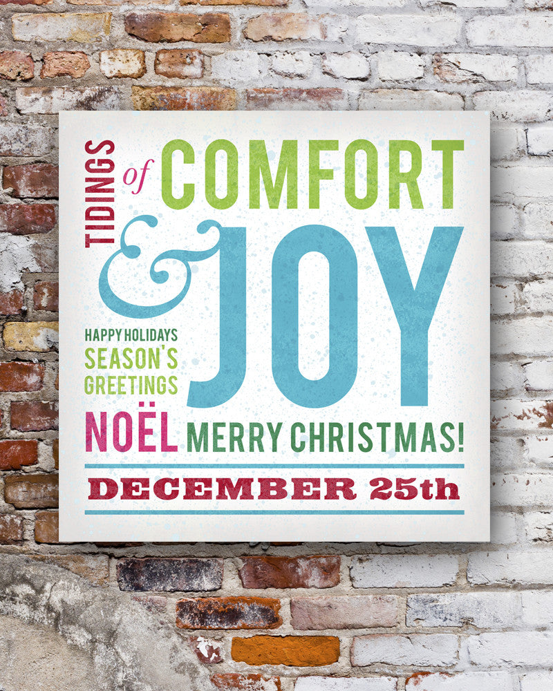 Comfort & Joy Christmas Subway Art Sign. Christmas Wall Decor ...