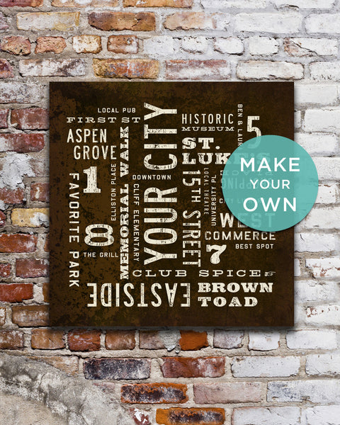Custom City Art Sign, Subway Art by Transit Design