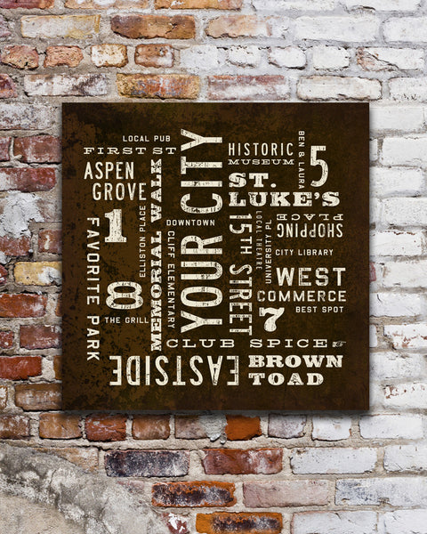 Custom City Art Sign, Subway Sign or Bus Scroll, by Transit Design