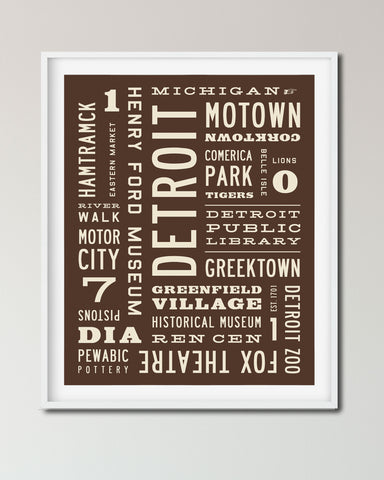 Detroit Word Art Print, Detroit Poster, Urban Wall Art, Transit Design