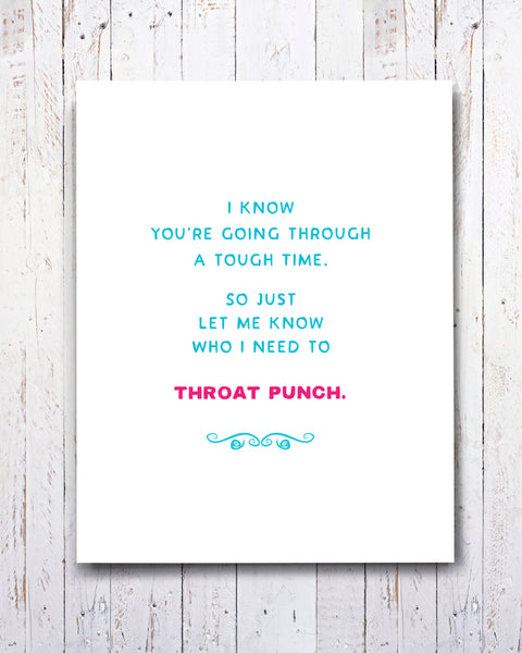 Encouraging Card, Encouragement - Throat Punch Card by Smirkantile
