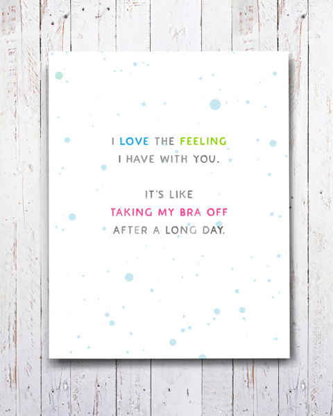 I Love the Feeling Card, Funny Card for Best Friend, Partner. By Smirkantile.