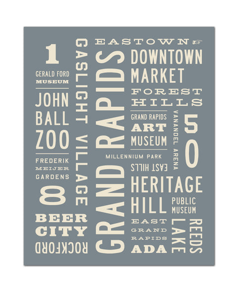 Grand Rapids Poster, Michigan Wall Art, Word Art by Michael Jon Watt