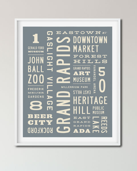Grand Rapids Wall Art, Michigan Word Art Poster Print - Transit Design