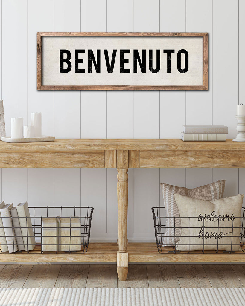 Rustic Italian Kitchen Decor, Benvenuto Sign by Transit Design