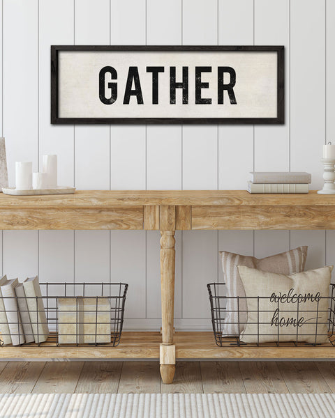 Hand-Painted Wood Gather Sign, Entryway Signs by Transit Design
