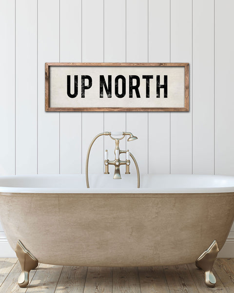 Wooden Up North Sign, Lake House Gifts by Transit Design