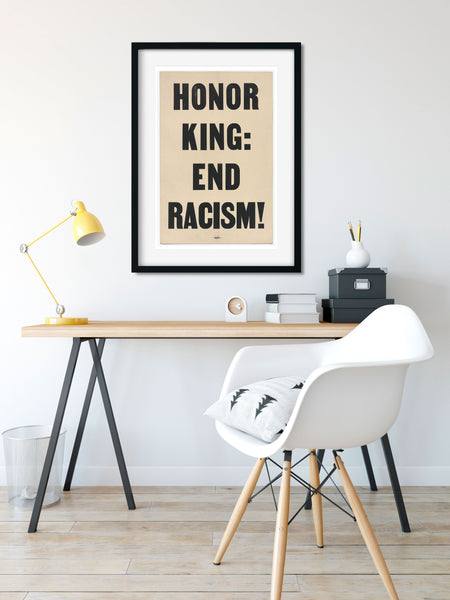 Social Justice Poster, Honor King End Racism MLK Poster