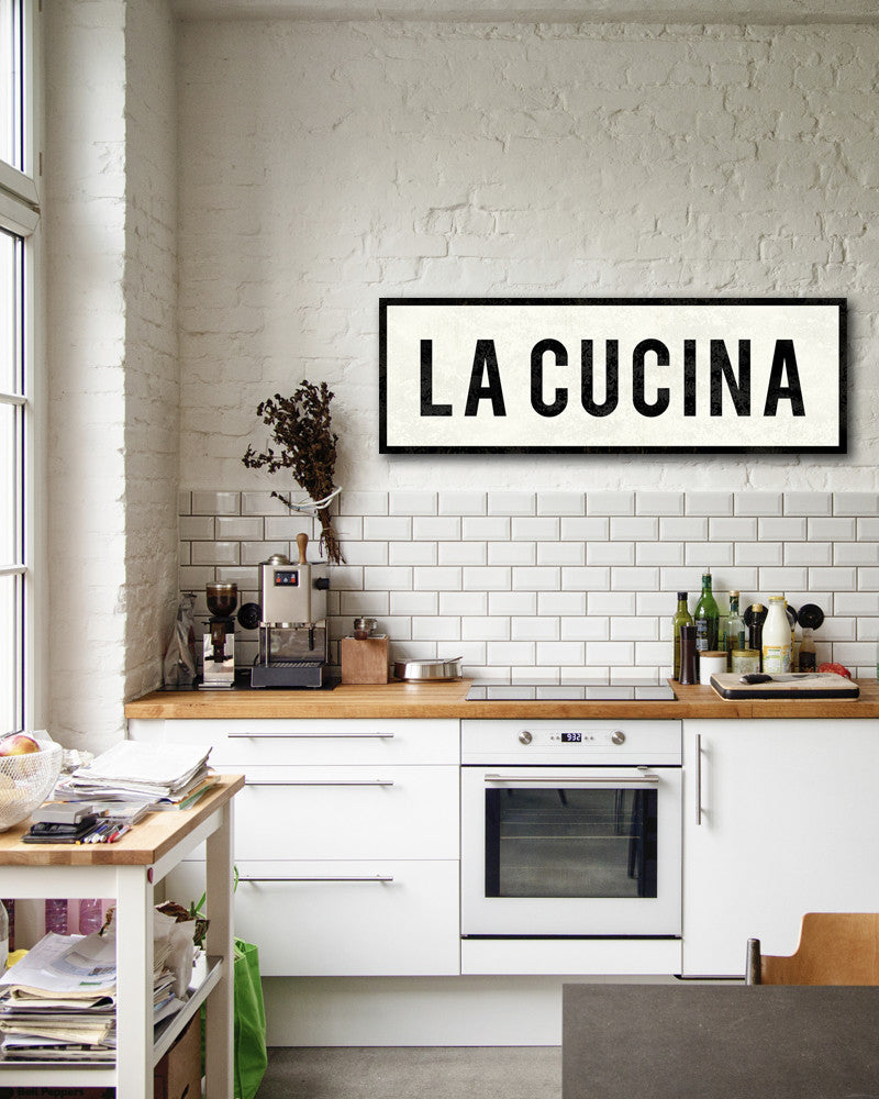 La cucina sign italian kitchen decor farmhouse sign for Small kitchen wall art