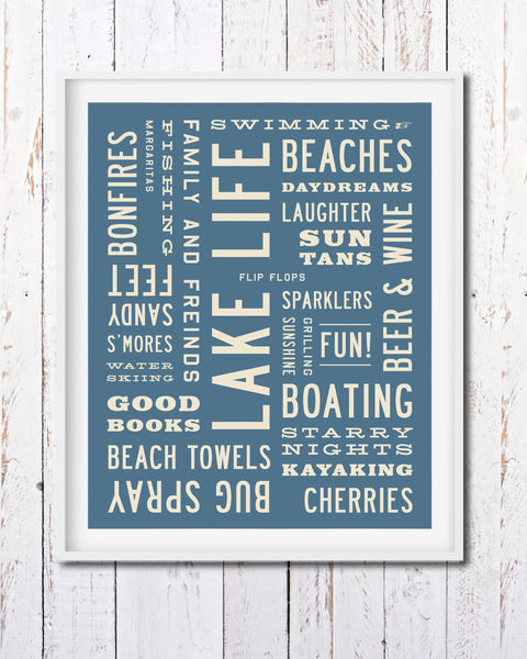 Michigan Art, Lake Life Print, Lake Life Sign, Word Art by Transit Design