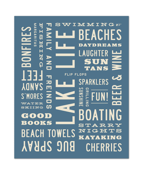 Cottage Decor, Wall Art, Michigan Art, Lake Life Print, Lake Life Poster, Word Art by Transit Design