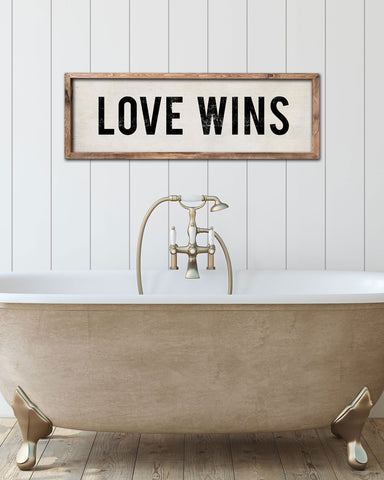 Vintage Love Wins Wall Sign, Hand Painted Signs by Transit Design