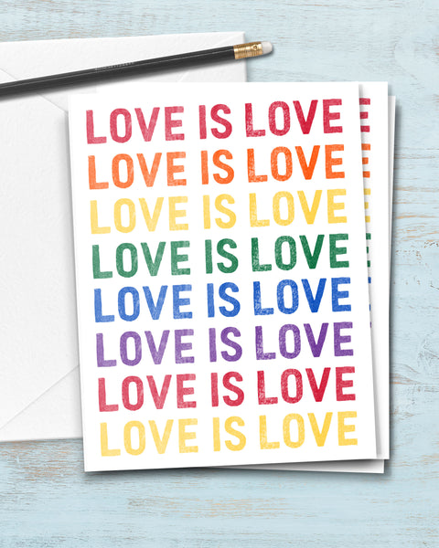 LGBTQ Greeting Card. Love is Love Notecard by Smirkantile.