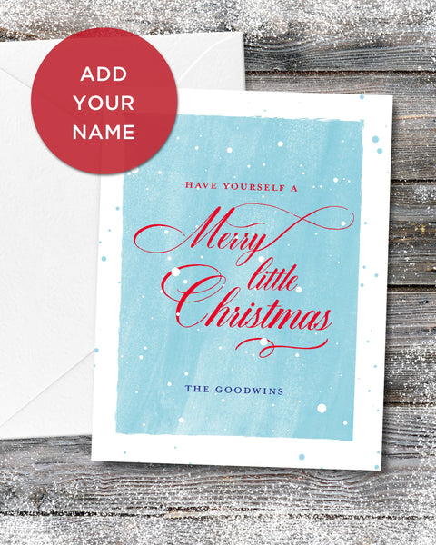 Personalized Merry Little Christmas Card by Smirkantile.