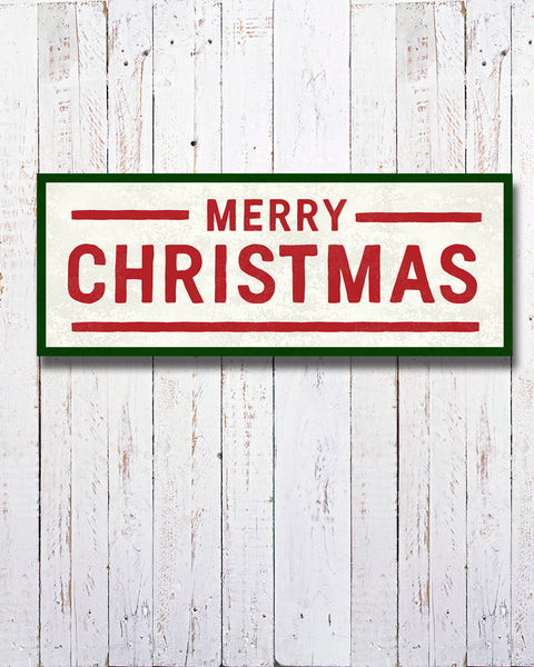 Canvas Merry Christmas Sign. Vintage Merry Christmas Sign.