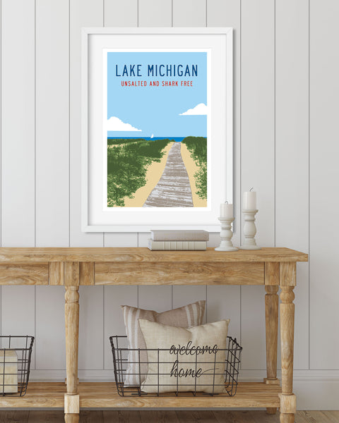 Lake Michigan - Unsalted and Shark Free Poster, Michigan Gifts by Transit Design