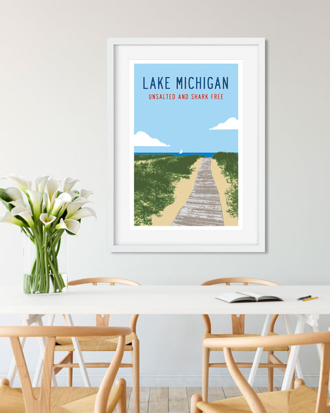 Lake Michigan Travel Poster, Michigan Art and Gifts by Transit Design