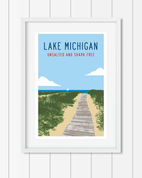 Lake Michigan Poster, Unsalted Shark Free Poster, Michigan Gifts by Transit Design