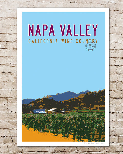 Vintage Napa Valley Travel Poster. California Art.