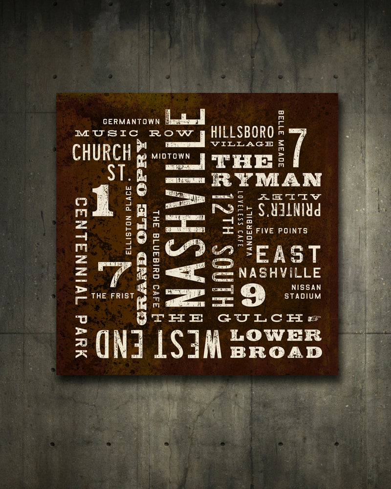 Nashville Poster on Canvas. Nashville Art by Transit Design
