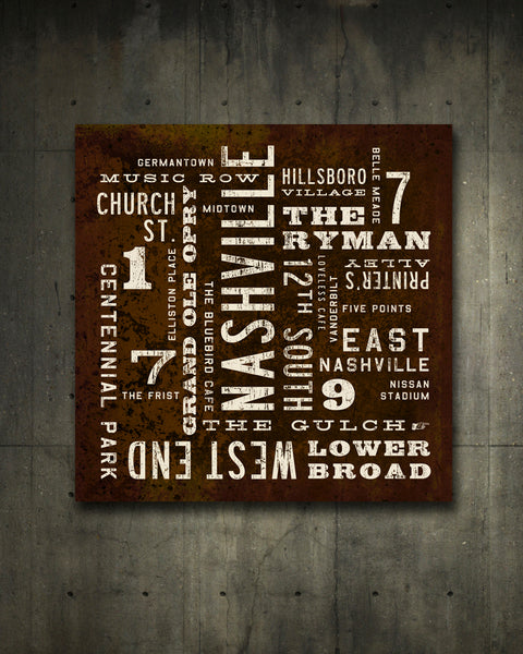 Nashville Poster on canvas. City Art.