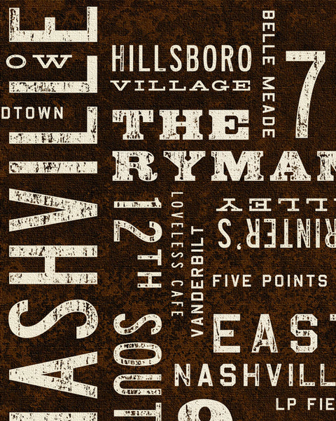 Transit Design Nashville Poster Canvas Detail.
