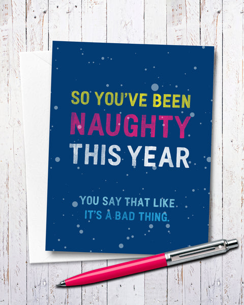 Naughty Christmas Card, Funny Holiday Cards by Smirkantile.