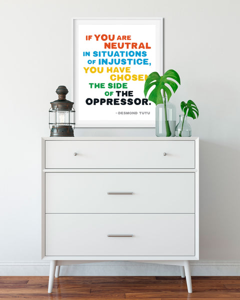 Buy Desmond Tutu Protest Poster, Inspirational Quote by Transit Design. Social Justice Poster.