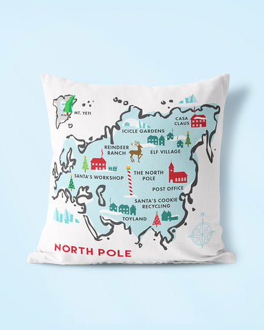 North Pole Map Christmas Pillow, Throw Pillows by Smirkantile