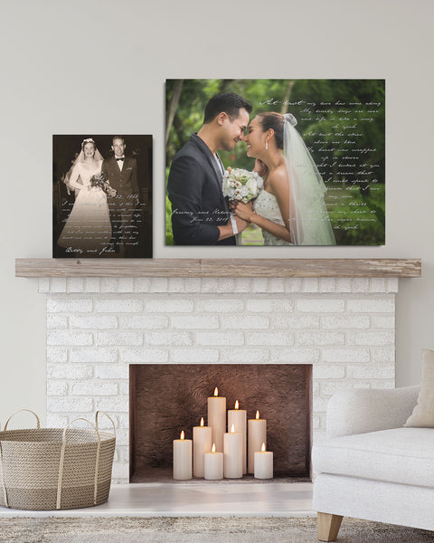 Stretched Canvas Personalized Wedding Photo Art by Transit Design