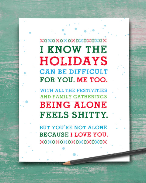Difficult Holidays. Christmas Empathy Card by Smirkantile.