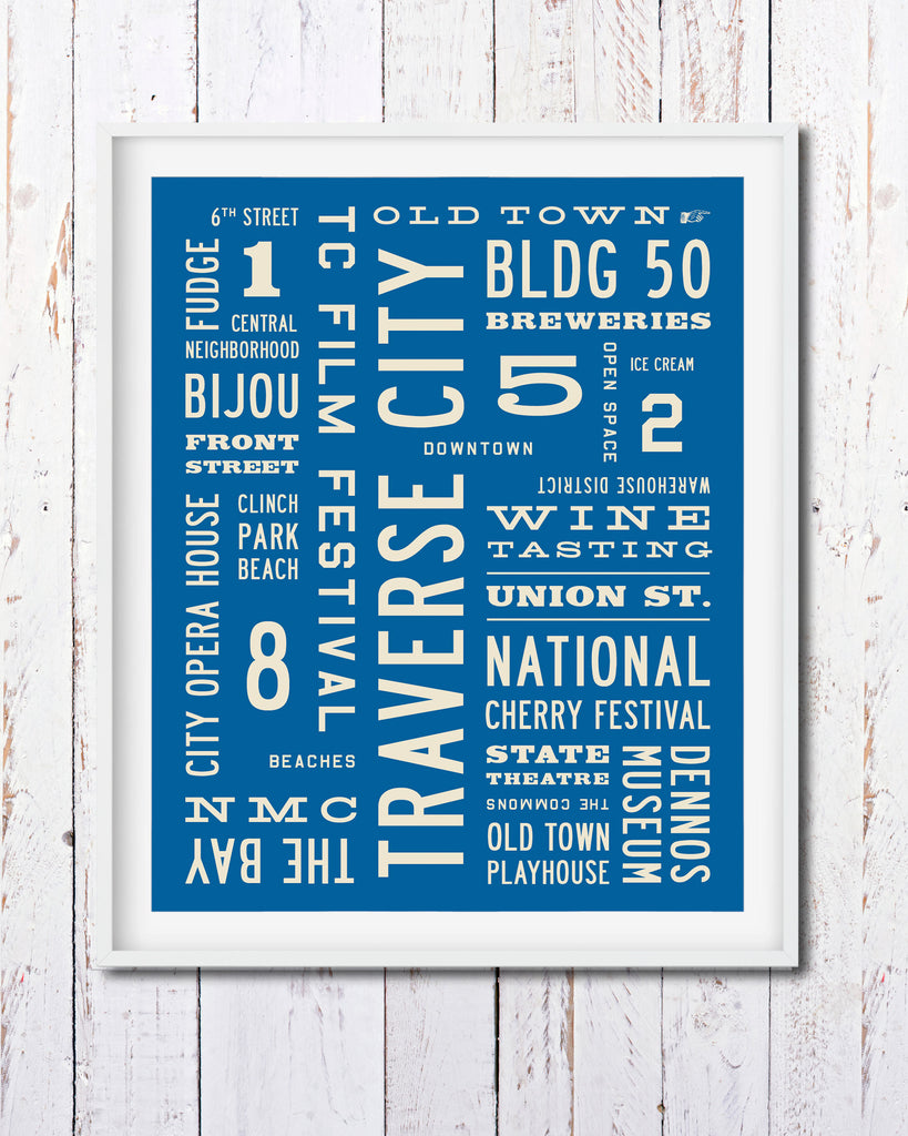 Traverse City Art Poster, Michigan Art, Word Art by Transit Design
