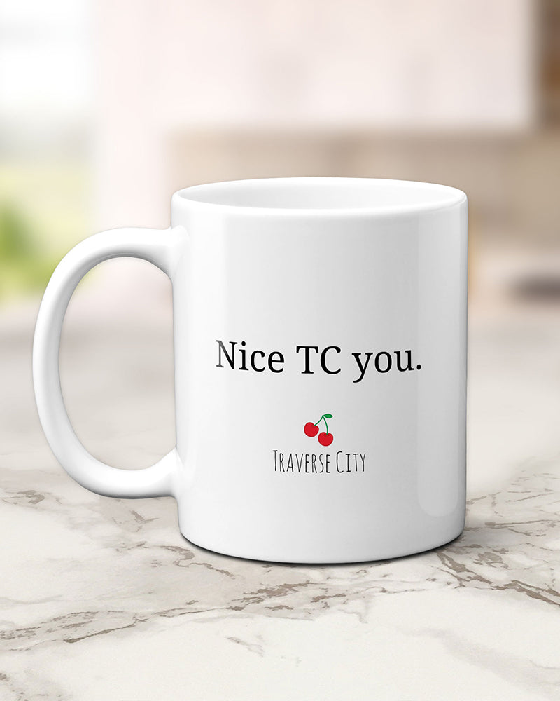 Traverse City Michigan Mug, Nice TC You Mug, Michigan Gifts by Transit Design