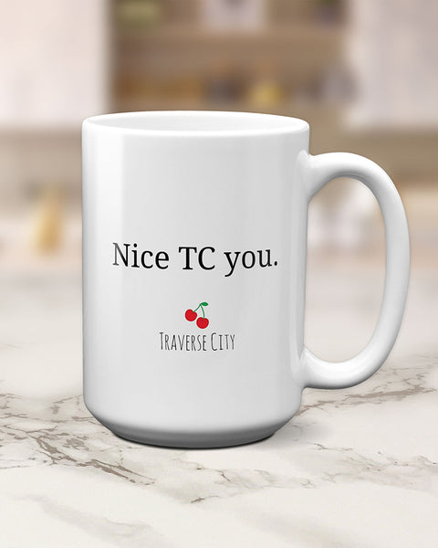 Traverse City Michigan Gifts, TC Mug by Transit Design